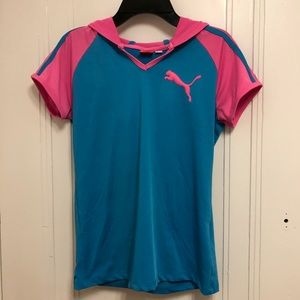 Pink and Blue Puma Short Sleeve Dry Fit with Hood
